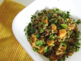 Lentils With Caramelized Onions, Sweet Potato and Sausage