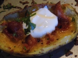 Baked Potato Skins With Sour Cream, Bacon and Cheese